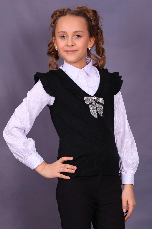 вязаный школьный жилет для девочки фото
